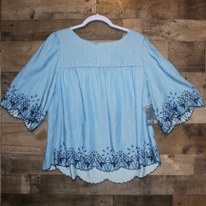 Crown and Ivy Chambray Top NWT